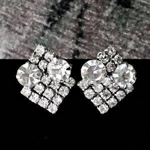 Vintage 50s Rhinestone Diamante Cocktail Earrings